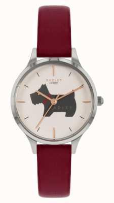 Radley Meridan Ort | rotes Lederband | Hundemotiv Zifferblatt RY2973