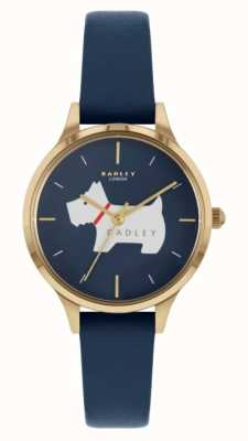 Radley Meridan Ort | blaues Lederband | Hundemotiv Zifferblatt RY2974