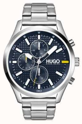 HUGO Männer #chase | blaues Zifferblatt | Edelstahluhr 1530163