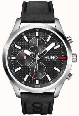 HUGO Männer #chase | schwarzes Zifferblatt | schwarze Lederarmbanduhr 1530161