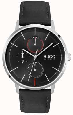 HUGO #exist | schwarzes Zifferblatt | multifunktional | schwarze Lederarmbanduhr 1530169