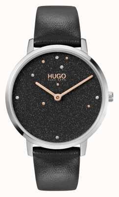 HUGO Ladies #dream business | schwarzes Swarovski Zifferblatt | schwarzes Lederband 1540068