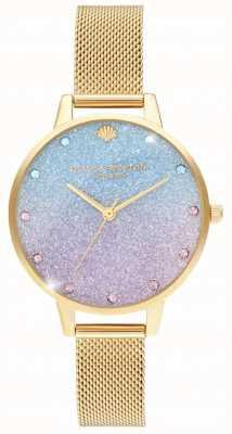 Olivia Burton Glitter Ombre Demi Zifferblatt Sparkle Marker Gold Mesh OB16US48