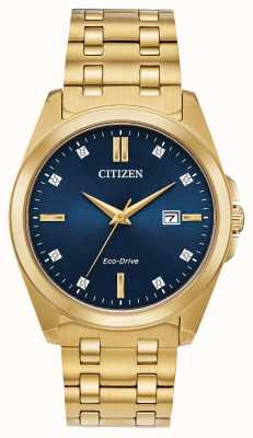 Citizen Herren Corso Eco-Drive Diamant Gold IP blau Zifferblatt Uhr BM7103-51L