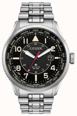 Citizen Herren Promaster Nighthawk Edelstahl schwarz Zifferblatt Uhr BX1010-53E