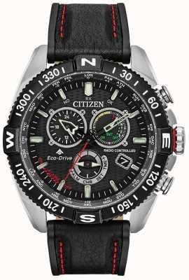 Citizen Herren Promaster Navihawk funkgesteuert mit chrono schwarzem Zifferblatt schwarzem Leder CB5841-05E