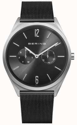 Bering Ultra schlank   schwarzes Stahlgitter   schwarzes Zifferblatt 17140-102