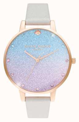 Olivia Burton Frauen Glitter Ombre Demi Zifferblatt   Perlenschimmerband OB16US47