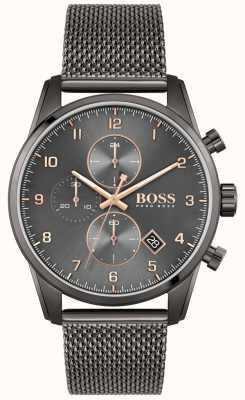 BOSS Skymaster Sport Lux | schwarzes IP Mesh Armband | schwarzes Zifferblatt 1513837
