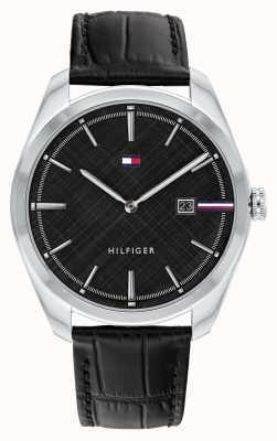 Tommy Hilfiger Herrentheo | schwarzes Lederband | schwarzes Zifferblatt 1710439