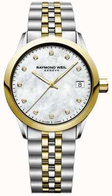 Raymond Weil Frauen   Freiberufler   Diamant   Perlmutt   zweifarbig 5634-STP-97081