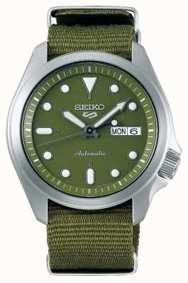 Seiko 5 Herren Sport grünes Zifferblatt grünes Nylonband SRPE65K1