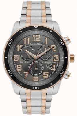 Citizen Ewiger Kalenderalarm-Chronograph für Männer mit zweifarbigem schwarzen Zifferblatt BL5516-58H