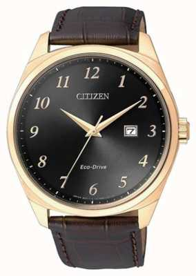 Citizen Herren Eco Drive Gold IP braun Lederarmband Uhr BM7323-11E