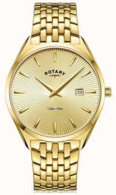 Rotary Herren ultra schlank | vergoldetes Stahlarmband | goldenes Zifferblatt GB08013/03