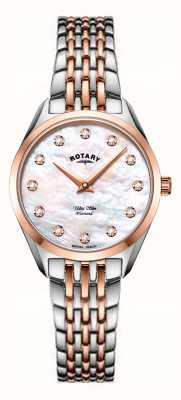 Rotary Ultra schlanke Damen zweifarbige Perlmutt Armbanduhr LB08012/41/D