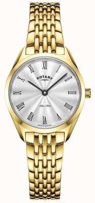 Rotary Frauen ultra schlank | vergoldete Stahluhr | silbernes Zifferblatt LB08013/01