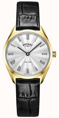 Rotary Ultra schlanke Damenuhr aus goldenem Leder LS08013/01