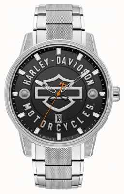 Harley Davidson Männer für ihn! | Edelstahlarmband | schwarzes Zifferblatt 76B182