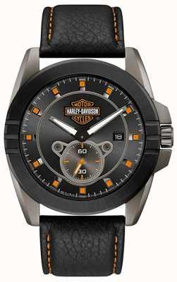 Harley Davidson Männer für ihn! | schwarzes Lederband | graues Zifferblatt 78B182