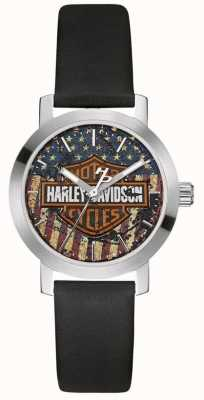 Harley Davidson Damen schwarzes Lederband | Zifferblatt der amerikanischen Flagge 76L174