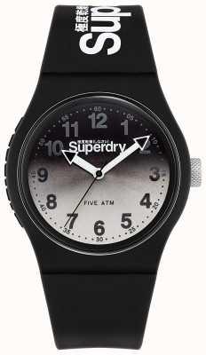 Superdry Urban Lazer | schwarzes Silikonband | schwarz-graues Zifferblatt SYG198EB