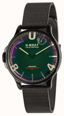 U-Boat Dunkelmond 38mm | schwarzes Netzarmband | Regenbogenzifferblatt 8470/MT