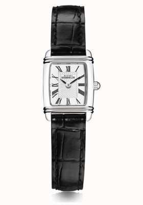 Michel Herbelin Frauen Mini Art Deco | schwarzes Lederband | weißes Zifferblatt 17438/08