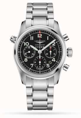 Longines Spirit Chronograph automatische schwarze Zifferblatt Edelstahl L38204536