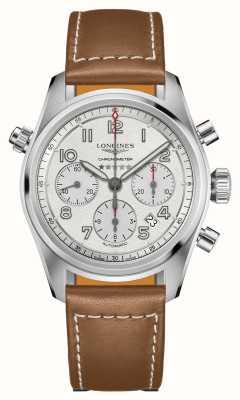 Longines Spirit Automatik Chronograph Silber Zifferblatt braunes Armband L38204732