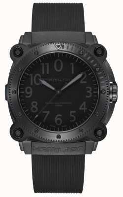 Hamilton Khaki Marine unter Null | schwarzes Silikonband | schwarzes Zifferblatt H78505330