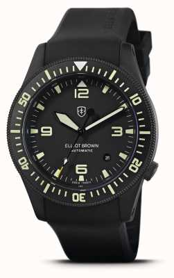 Elliot Brown Holton Automatik | schwarzes Kautschukband | schwarzes Zifferblatt | 101-A10-R06
