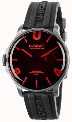 U-Boat Dunkelmond 44mm rotes Glas schwarzes Kautschukband 8465