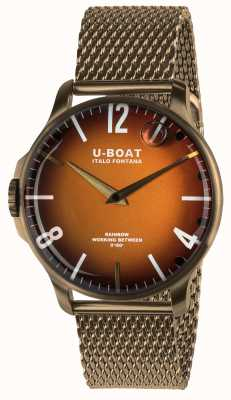U-Boat Regenbogen 44mm orange Zifferblatt Bronze IP-Mesh 8468/MT