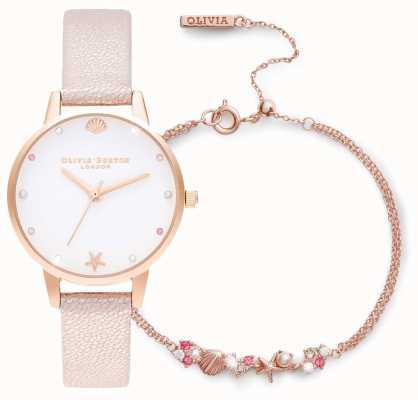 Olivia Burton   unter dem Meer   uhr und armband geschenkset   pink   OBGSET141