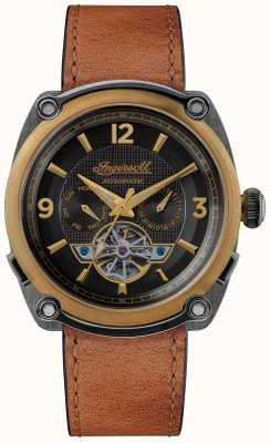 Ingersoll Der Michigan | Uhrenbeweger | braunes Armband schwarzes Zifferblatt I01104
