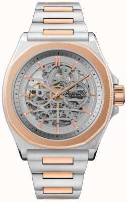 Ingersoll Das orville automatische zweifarbige Armband Silber Skelett Zifferblatt I09304