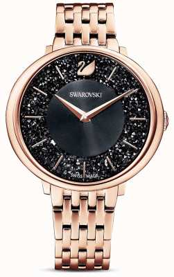 Swarovski | kristalliner Chic | roségold pvd armband | schwarzes Glitzerzifferblatt | 5544587