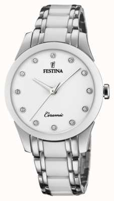 Festina Damenkeramik | zweifarbiges Stahl / Keramik-Armband | weißes Zifferblatt F20499/1