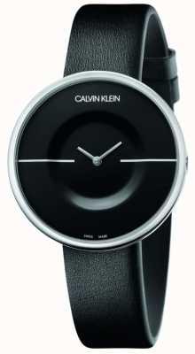 Calvin Klein Mania | schwarzes Lederarmband für Damen | schwarzes Zifferblatt KAG231C1