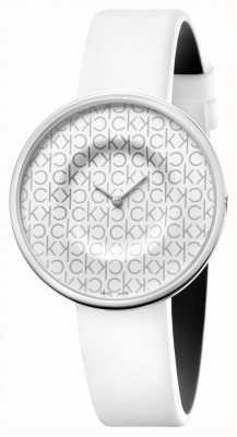 Calvin Klein Mania | weißes Lederarmband für Damen | weißes Zifferblatt KAG231LX