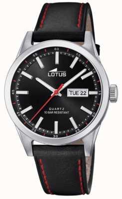 Lotus Herren schwarzes Lederband | rote Nähte | schwarzes Zifferblatt L18671/4