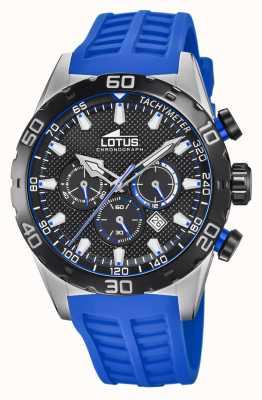 Lotus Farbe | blaues Silikonarmband für Herren | schwarzes Chronographenzifferblatt L18677/4