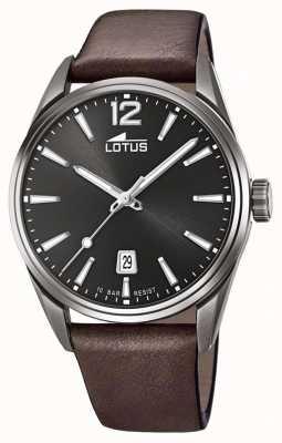Lotus Herren braunes Lederband | schwarzes Zifferblatt L18685/1