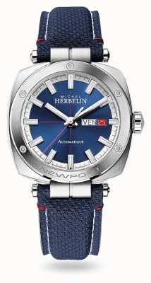 Michel Herbelin Newport Heritage automatisch | blaues Lederband | blaues Zifferblatt 1764/42