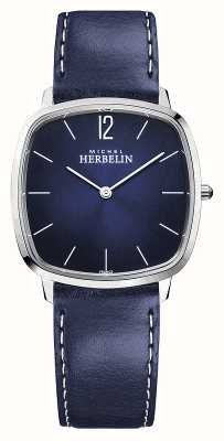 Michel Herbelin Stadt   blaues Lederarmband für Herren   blaues Zifferblatt 16905/15BL