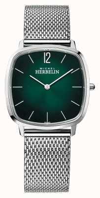 Michel Herbelin Stadt | Herren Stahlgitter Armband | grünes Zifferblatt 16905/16B