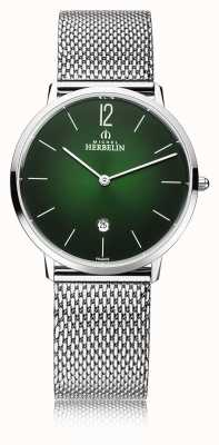Michel Herbelin Stadt   Herren Stahlgitter Armband   grünes Zifferblatt 19515/16NB