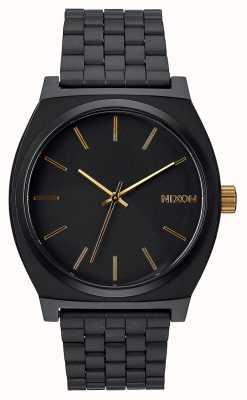 Nixon Zeitmesser | mattschwarz / gold | schwarzes IP Stahlarmband | schwarzes Zifferblatt A045-1041-00