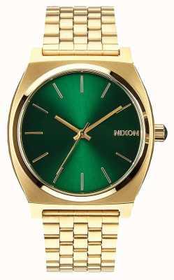 Nixon Zeitmesser | gold / grüner Sonnenstrahl | Gold IP Stahl Armband | grünes Zifferblatt A045-1919-00